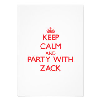 Guarde la calma y vaya de fiesta con Zack Invitaciones Personales