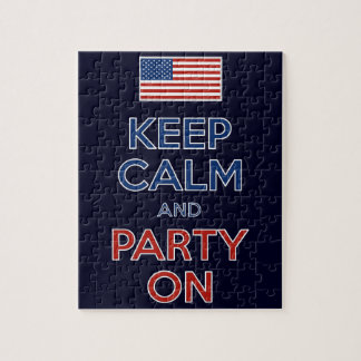 Guarde la calma y vaya de fiesta en bandera de los puzzle