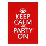 Guarde la calma y vaya de fiesta en (en cualquier invitación 13,9 x 19,0 cm