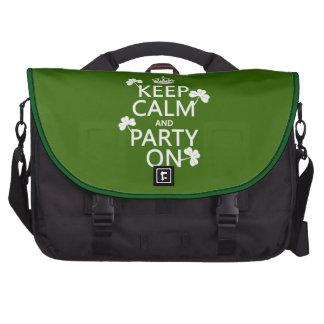 Guarde la calma y vaya de fiesta en (irlandés) (cu bolsas para portátil
