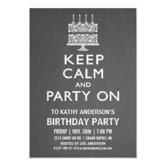 Guarde la calma y vaya de fiesta en la invitación