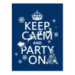 Guarde la calma y vaya de fiesta en (navidad) (col tarjetas postales