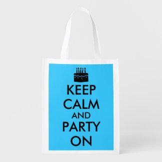 Guarde la calma y vaya de fiesta en personalizable bolsa para la compra