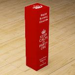 Guarde la calma y vaya de fiesta en personalizado caja para botella de vino