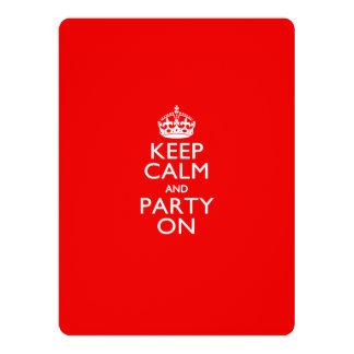 """Guarde la calma y vaya de fiesta en rojo invitación 6.5"""" x 8.75"""""""