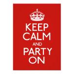 Guarde la calma y vaya de fiesta encendido invitación 12,7 x 17,8 cm