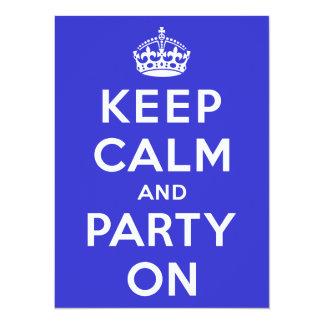 Guarde la calma y vaya de fiesta encendido invitación 13,9 x 19,0 cm