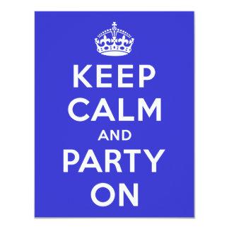 Guarde la calma y vaya de fiesta encendido invitación 10,8 x 13,9 cm
