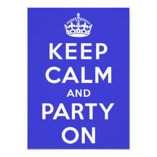 Guarde la calma y vaya de fiesta encendido invitación 11,4 x 15,8 cm