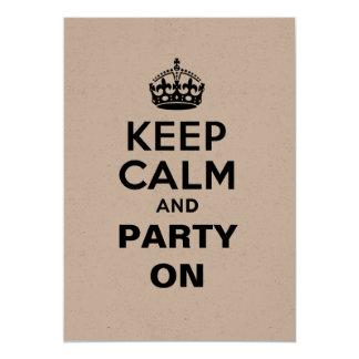 """Guarde la calma y vaya de fiesta encendido invitación 5"""" x 7"""""""