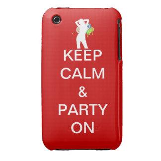 guarde la calma y vaya de fiesta encendido iPhone 3 protector