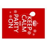 Guarde la calma y vaya de fiesta encendido - todos tarjetas de visita