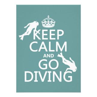 Guarde la calma y vaya equipo de submarinismo a anuncio personalizado