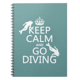 Guarde la calma y vaya (equipo de submarinismo) a libros de apuntes