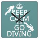 Guarde la calma y vaya (equipo de submarinismo) a  relojes de pared