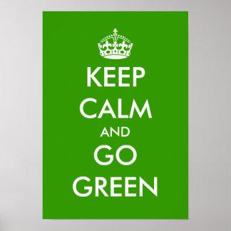 Guarde la calma y vaya personalizable verde del po póster