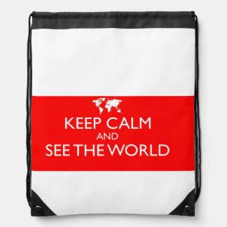 Guarde la calma y vea el bolso de la honda del mochila