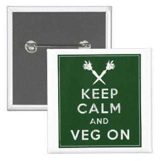 Guarde la calma y Veg encendido Pin Cuadrado