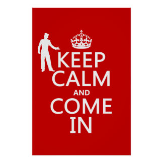 Guarde la calma y venga en (el signo positivo) poster