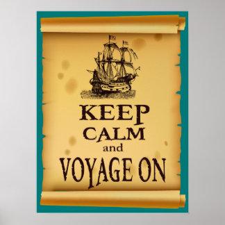 Guarde la calma y viaje en el poster inspirado de
