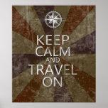 Guarde la calma y viaje encendido posters