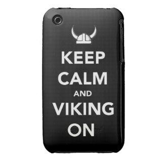 Guarde la calma y Viking en los hel divertidos del iPhone 3 Case-Mate Carcasas