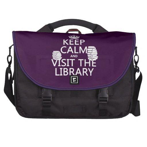 Guarde la calma y visite la biblioteca - en cualqu bolsa para ordenador