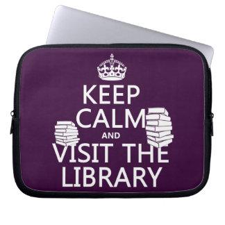 Guarde la calma y visite la biblioteca - en cualqu funda portátil