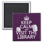 Guarde la calma y visite la biblioteca - en cualqu imanes para frigoríficos