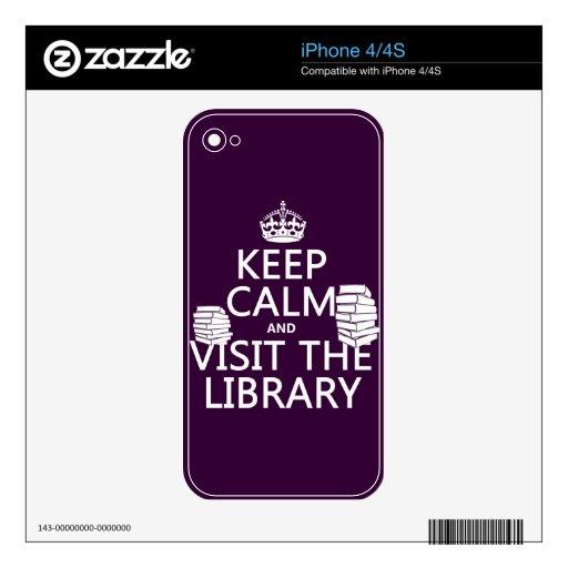 Guarde la calma y visite la biblioteca - en cualqu calcomanías para el iPhone 4