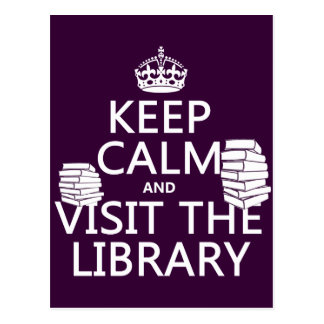 Guarde la calma y visite la biblioteca - en tarjetas postales