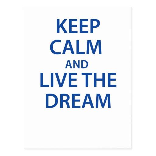 Guarde la calma y viva el sueño postal