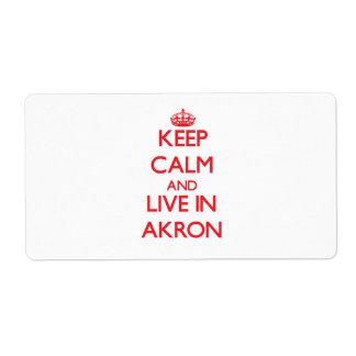 Guarde la calma y viva en Akron Etiquetas De Envío