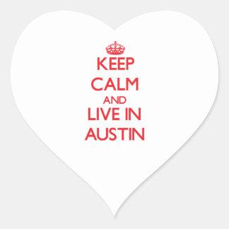 Guarde la calma y viva en Austin Colcomanias Corazon