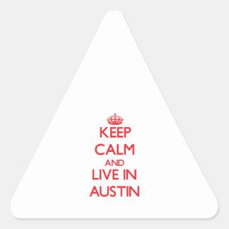 Guarde la calma y viva en Austin Calcomanía De Triangulo Personalizadas