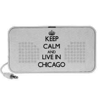Guarde la calma y viva en Chicago Notebook Altavoces