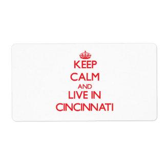 Guarde la calma y viva en Cincinnati Etiqueta De Envío