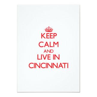 Guarde la calma y viva en Cincinnati Invitación 12,7 X 17,8 Cm