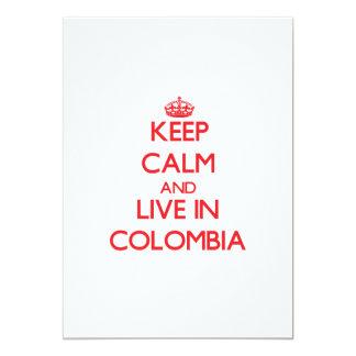 """Guarde la calma y viva en Colombia Invitación 5"""" X 7"""""""
