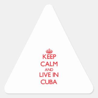 Guarde la calma y viva en Cuba Pegatina Triangular