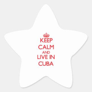 Guarde la calma y viva en Cuba Pegatina En Forma De Estrella