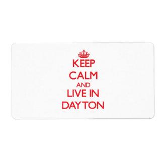 Guarde la calma y viva en Dayton Etiquetas De Envío