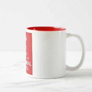 Guarde la calma y viva en el mundo hyperreal taza de café