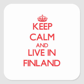 Guarde la calma y viva en Finlandia Calcomania Cuadradas Personalizada