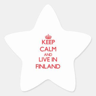 Guarde la calma y viva en Finlandia Calcomanías Forma De Estrellas