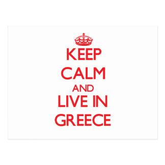Guarde la calma y viva en Grecia Postales