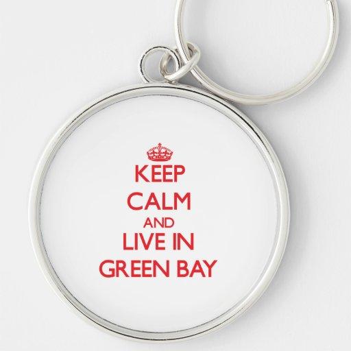 Guarde la calma y viva en Green Bay Llavero Personalizado