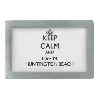 Guarde la calma y viva en Huntington Beach Hebillas De Cinturon Rectangulares