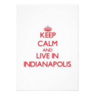 Guarde la calma y viva en Indianapolis Invitaciones Personalizada