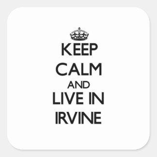 Guarde la calma y viva en Irvine Pegatina Cuadrada